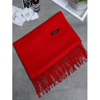 Vintage Faux Cashmere Blanket Scarf with Fringed Edge - BRIGHT RED BRIGHT RED