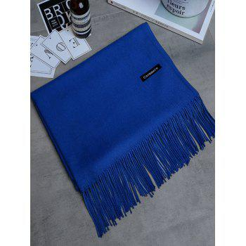 Vintage Faux Cashmere Blanket Scarf with Fringed Edge - ROYAL ROYAL