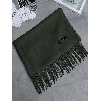 Vintage Faux Cashmere Blanket Scarf with Fringed Edge - ARMY GREEN ARMY GREEN