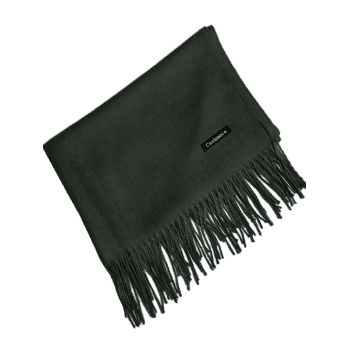 Vintage Faux Cashmere Blanket Scarf with Fringed Edge -  ARMY GREEN