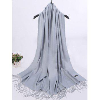 Vintage Faux Cashmere Blanket Scarf with Fringed Edge - PEARL LIGHT GREY