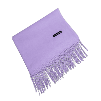 Vintage Faux Cashmere Blanket Scarf with Fringed Edge - LIGHT PURPLE