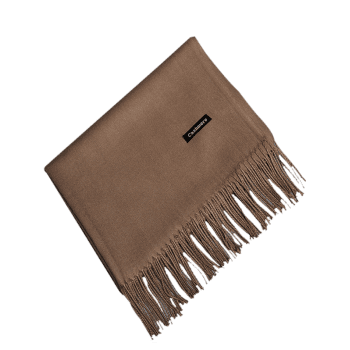Vintage Faux Cashmere Blanket Scarf with Fringed Edge -  DEEP BROWN