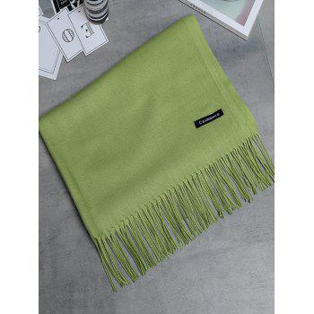 Vintage Faux Cashmere Blanket Scarf with Fringed Edge - GREEN GREEN
