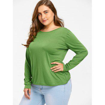 Plus Size Snowflake Patches Christmas Slit T-shirt - GREEN 3XL