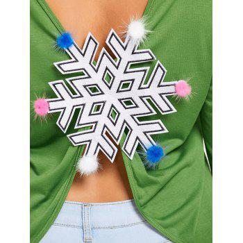 Plus Size Snowflake Patches Christmas Slit T-shirt - 5XL 5XL