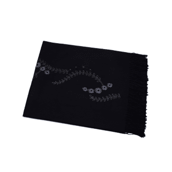 Retro Small Flower Embroidery Fringed Long Scarf -  BLACK
