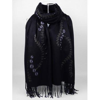 Retro Small Flower Embroidery Fringed Long Scarf - BLACK BLACK