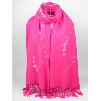 Retro Small Flower Embroidery Fringed Long Scarf - TUTTI FRUTTI TUTTI FRUTTI
