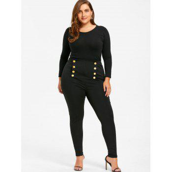 Plus Size Double Breasted Skinny Pants - BLACK BLACK