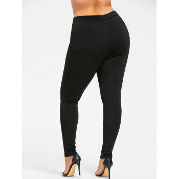 Plus Size Double Breasted Skinny Pants - BLACK 5XL