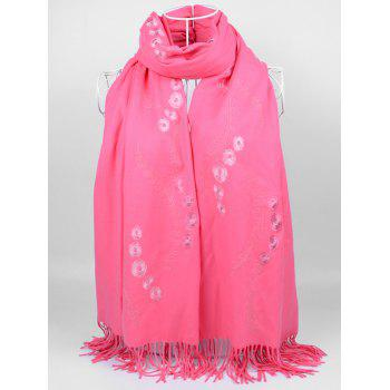 Retro Small Flower Embroidery Fringed Long Scarf - WATERMELON RED WATERMELON RED