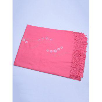 Retro Small Flower Embroidery Fringed Long Scarf -  WATERMELON RED