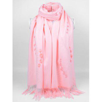 Retro Small Flower Embroidery Fringed Long Scarf - PINK PINK