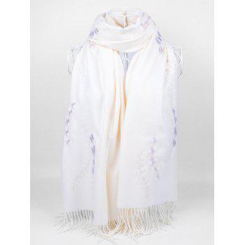 Retro Small Flower Embroidery Fringed Long Scarf - WHITE WHITE