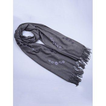 Retro Small Flower Embroidery Fringed Long Scarf -  GRAY