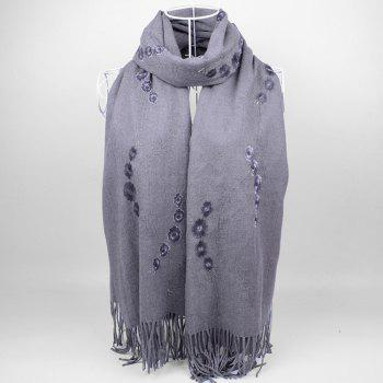 Retro Small Flower Embroidery Fringed Long Scarf - GRAY GRAY