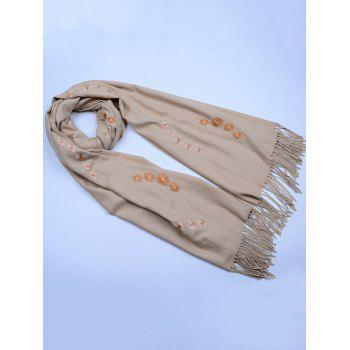 Retro Small Flower Embroidery Fringed Long Scarf -  KHAKI