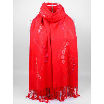 Retro Small Flower Embroidery Fringed Long Scarf - BRIGHT RED BRIGHT RED