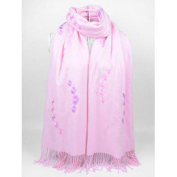 Retro Small Flower Embroidery Fringed Long Scarf - LIGHT PINK LIGHT PINK