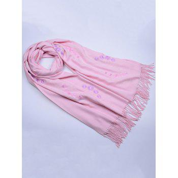 Retro Small Flower Embroidery Fringed Long Scarf -  LIGHT PINK