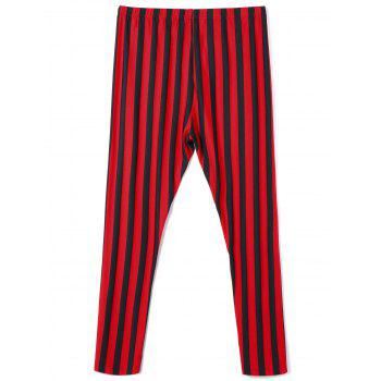 Plus Size Striped Pants - RED/BLACK 4XL