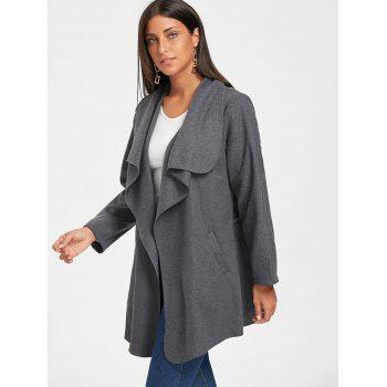 Tunic Draped Wool Coat - XL XL