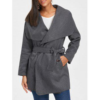 Tunic Draped Wool Coat - DARK GRAY XL