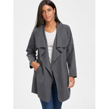 Tunic Draped Wool Coat - DARK GRAY L