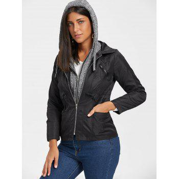 Hooded Double Zipper Faux Twinset Jacket - BLACK S