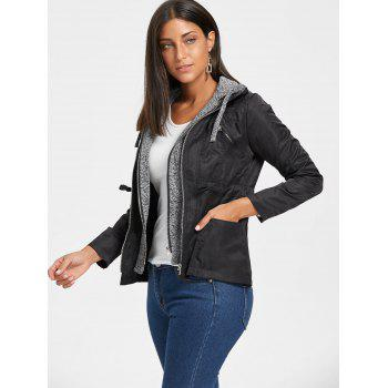 Hooded Double Zipper Faux Twinset Jacket - M M