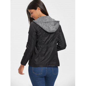 Hooded Double Zipper Faux Twinset Jacket - BLACK L