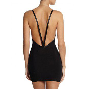 Plunge Convertible Strap Slip Corset Dress - S S