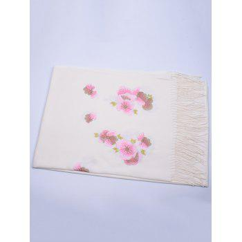 Retro Floral Embroidery Ethinc Style Fringed Scarf -  WHITE