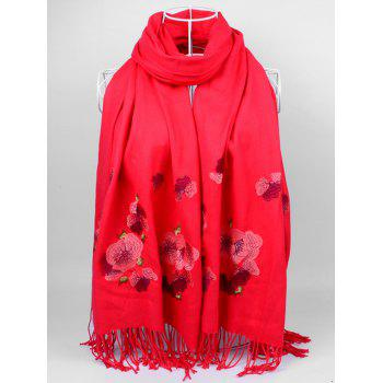Retro Floral Embroidery Ethinc Style Fringed Scarf - BRIGHT RED BRIGHT RED