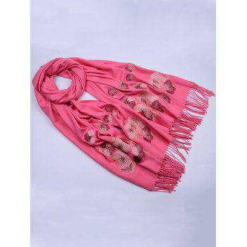Retro Floral Embroidery Ethinc Style Fringed Scarf - WATERMELON RED