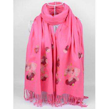 Retro Floral Embroidery Ethinc Style Fringed Scarf - WATERMELON RED WATERMELON RED