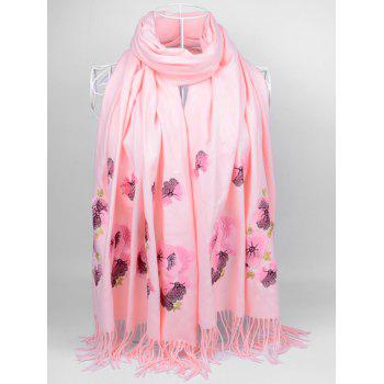 Retro Floral Embroidery Ethinc Style Fringed Scarf - LIGHT PINK LIGHT PINK
