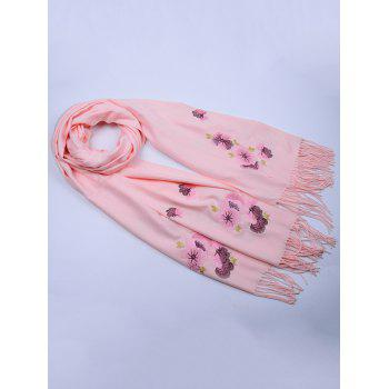 Retro Floral Embroidery Ethinc Style Fringed Scarf - LIGHT PINK
