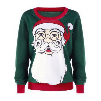 Plus Size Christmas Santa Claus Print Sweatshirt - DEEP GREEN XL