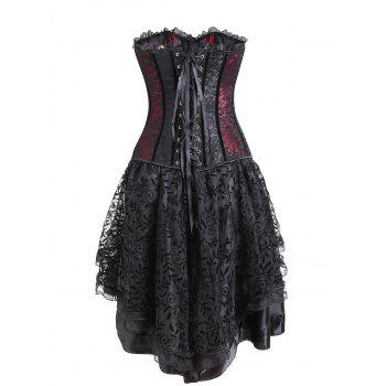 Lace Two Piece Flounce Corset Dress - RED M