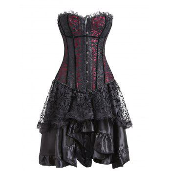 Lace Two Piece Flounce Corset Dress - RED RED