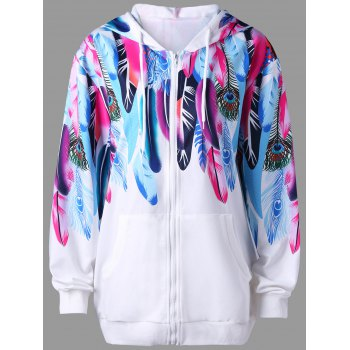 Feather Print Zip Up Hoodie - WHITE L