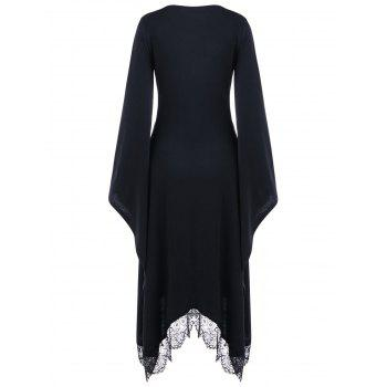 Halloween V Neck Flare Sleeve Longline Dress - BLACK XL