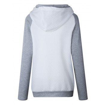 Raglan Sleeve Zippered Embellished Mock Neck Hoodie - WHITE WHITE