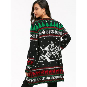 Christmas Graphic Tunic Knitted Draped Cardigan - S S