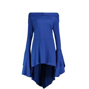 Long Flare Sleeve Plus Size High Low Hoodie - BLUE BLUE