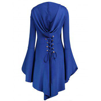 Long Flare Sleeve Plus Size High Low Hoodie - BLUE 3XL