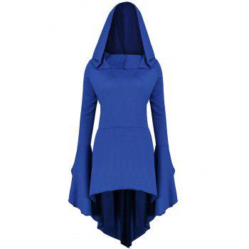 Long Flare Sleeve Plus Size High Low Hoodie - BLUE 5XL