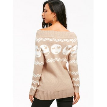 Halloween Skull Off The Shoulder Tunic Sweater - S S